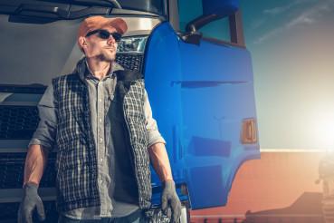 Blue Semi Truck Driver