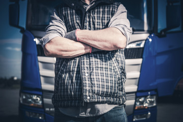 Crossed Truck Driver Hands