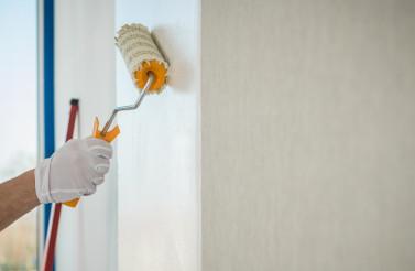 Adhesive Wallpaper Glue Applying Using Roller