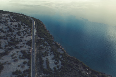 Aerial View of Croatian Coastal Highway