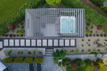 Aerial View of Garden SPA Inside the Hot Tub Shelter
