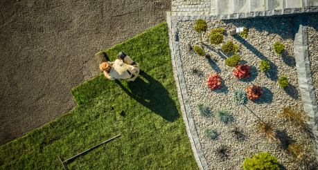 Aerial View of Gardener Installing Brand New Grass