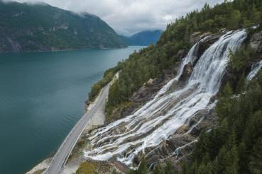 Aerial View of Norwegian Furebergfossen Waterfall