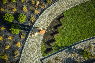 Aerial View of Residential Garden Developing with Grass Installation