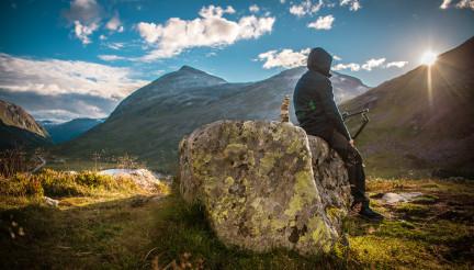 Alpine Hiker Taking Rest