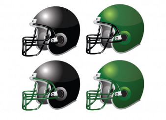 American Football Helmets Vector Illustration