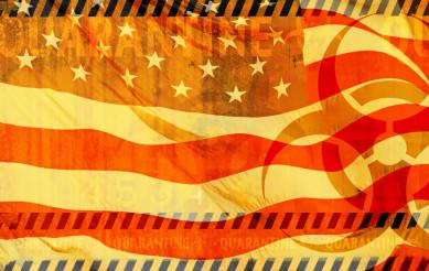 American Virus Quarantine Abstract Illustration with USA Flag
