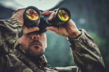 Army Soldier with Binoculars