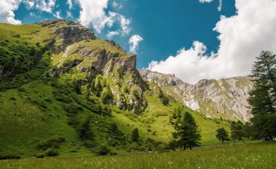 Stunning View Of Austrian Alps In Summer.