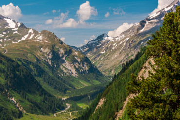Valley And Rural Road In Austrain Alps.