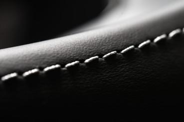 Automotive Leather Stitches Close Up