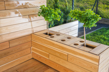 Outdoor Wooden Patio Area With Plants.