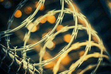 Barbed Wire Fence Closeup