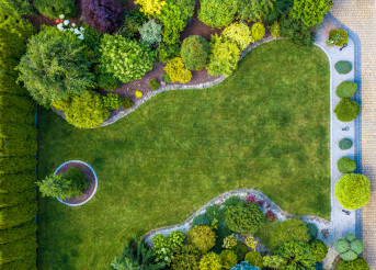 Beautiful Residential Mature Garden Aerial View