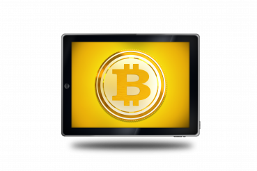 Bitcoin Sign on Tablet Device PNG Isolated Illustration
