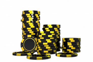 Black and Yellow Casino Chips PNG Isolated