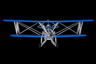 Blue Biplane Front 3D