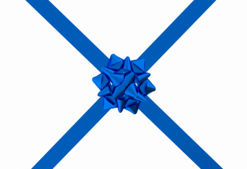 Blue Bow with Ribbon