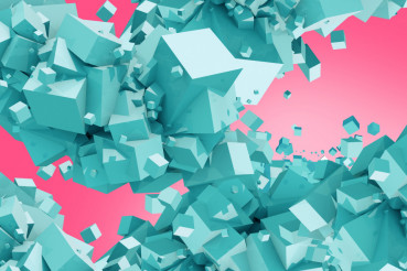 Blue Cubes on Pink Background