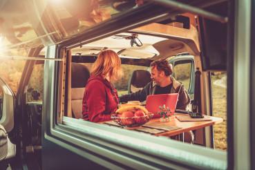Boondocking Camping Inside Modern RV Camper Van