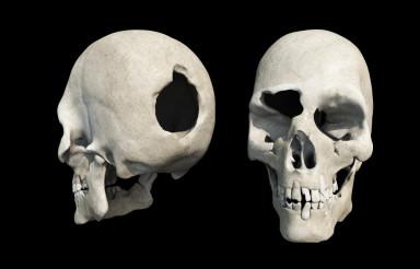 Bullet Hole Skull on Black