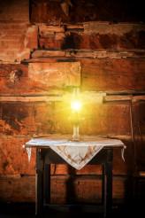 Burning Oil Lamp