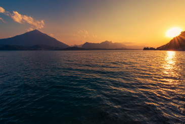 Calm Lake Thun Sunset