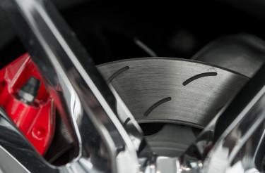 Car Brake Disc with Red Caliper