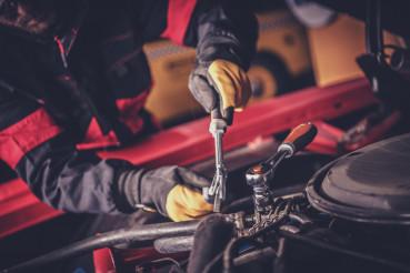 Car Mechanic Repairs Classic Vehicle Engine