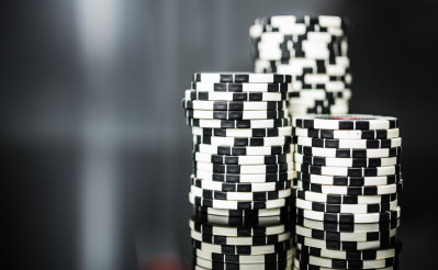 Stacks Of Black And White Casino Poker Chips.