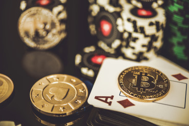 Casino Chips Bitcoins And Diamond Ace Card.