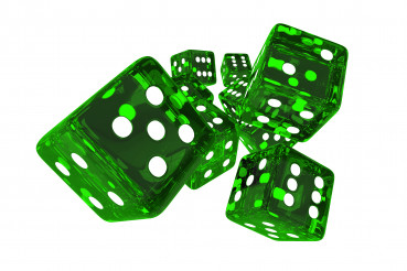Close Up Of Casino Dice Thrown In Air.