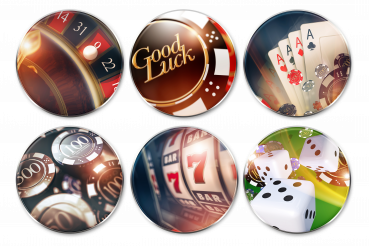 Casino Gambling Glassy Batches PNG