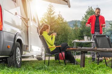 Caucasian Couple and Camper Van Road Trip