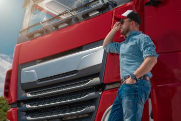 Caucasian Euro Semi Truck Driver