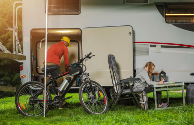 Caucasian Family RV Camping Time
