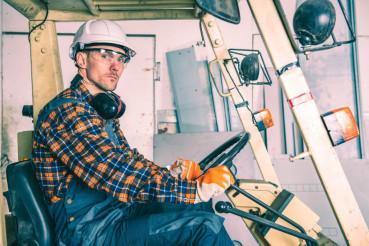 Caucasian Forklift Operator