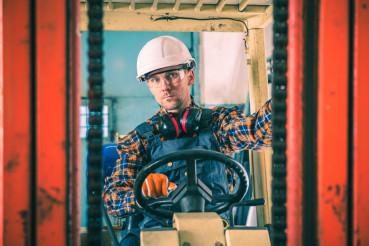 Caucasian Forklift Worker