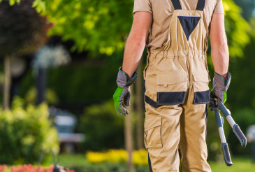 Caucasian Gardener with Scissors Gardening Tool