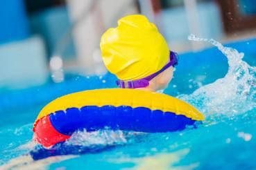 Caucasian Girl in a Pool