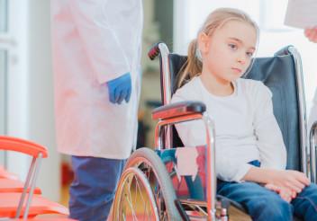 Caucasian Girl on a Wheelchair