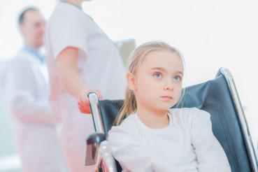Caucasian Girl on the Wheelchair