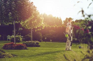 Caucasian Pro Gardener in His Clients Backyard Garden