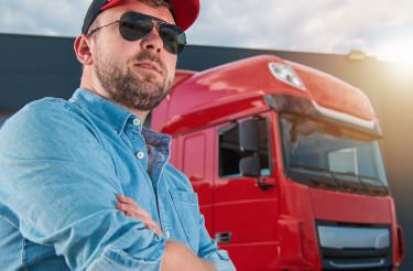 Caucasian Semi Truck Driver Portrait