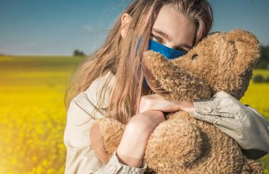 Caucasian Teenage Girl Hugging Her Teddy Bear During Pandemic