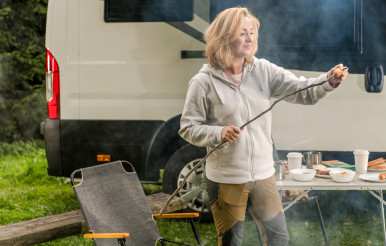 Caucasian Woman Having Fun on a Camping