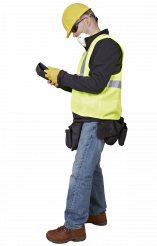 Caucasian Worker with Tablet in Breath Safety Mask, Hard Hat and Gloves.