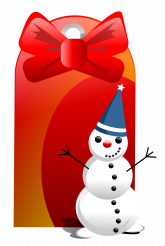 Christmas Tag with Snowman Isolated PNG Graphic