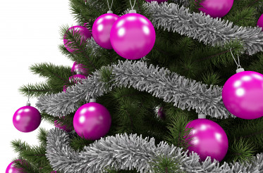 Christmas Tree Pink Ornaments Close Up 3D Illustration