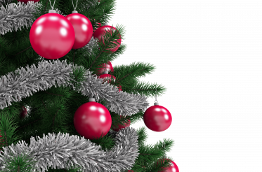 Christmas Tree PNG Transparent with Red Ornaments